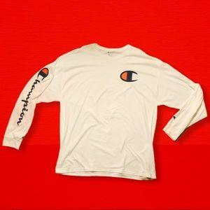 White Champion Long Sleeve T Shirt